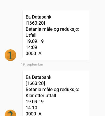 Tekstmeldinger når en utestasjon har falt ut (1), og når den er tilbake etter utfall (2).